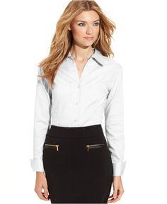 Calvin Klein Fitted Button-Front Shirt - Tops - Women - Macy's