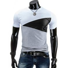 5a711d47deca Casual Round Collar Pullover Color Block T-Shirt For Men