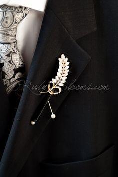Crystal Rice Pearl Groom Brooch Boutonniere