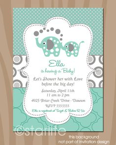 Elephant Baby Shower Invitation - Elephant Showers - Mint and Gray - Gender Neutral - Baby Shower  - Printable DIY. $15.00, via Etsy.
