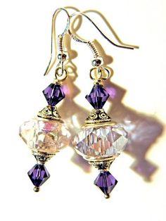 european beads Handmade purple lampwork Earrings