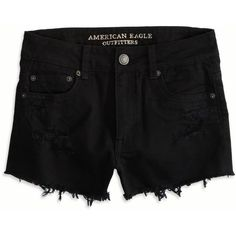 AEO Hi-Rise Festival Shorts (80 RON) ❤ liked on Polyvore featuring shorts, bottoms, pants, black, destroyed shorts, relaxed shorts, relaxed fit shorts, distressed shorts and ripped shorts