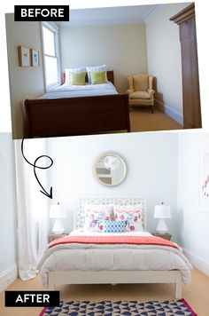 Decorist bedroom makeover: before & after, on #AtHomeinLove.  Such a light and bright space.