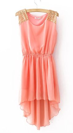 $29.90 Pink Sequined Shoulder Sleeveless Dipped Hem Dress