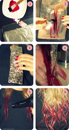 How to do ombre hair die at home with food colouring, super easy!!