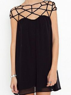 Black Grid Hollow Shoulder Splicing Shift Chiffon Dress with Back Zip