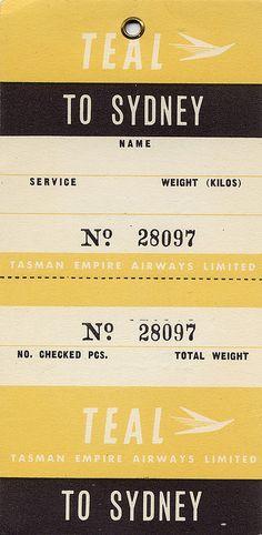 "Vintage ""To Sydney"" ticket."