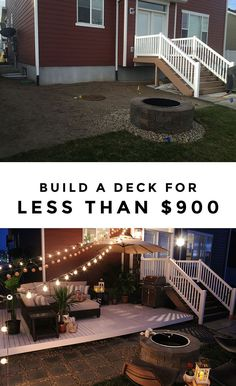How To Build A Simple Diy Deck On A Budget String Lights