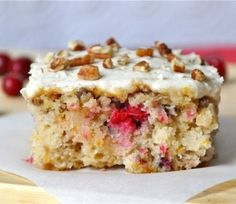 Cranberry Pecan Frosted Sheet Cake