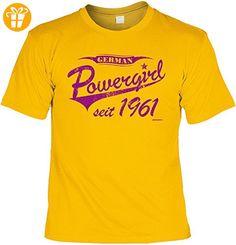 T-Shirt zum Geburtstag - German Powergirl seit 1961 - Geburtstagsgeschenk - Fun shirt - Geschenkidee - gelb (*Partner-Link)