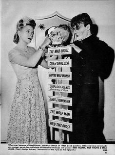 Evelyn Ankers and her many horror film titles (along with David Bruce as The Mad Ghoul)