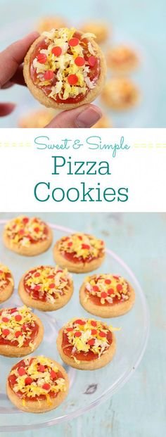 Pizza Cookies! This pizza cookie recipe is so easy using store bought cookies, jam, coconut. Not only are they adorable, but they are delicious too. Perfect for Teenage Mutant Ninja Turtle Themed Parties! #CupcakeBirthdayCake Delicious Cookie Recipes, Best Cookie Recipes, Best Dessert Recipes, Yummy Cookies, Shortbread Cookies, Pizza Recipes, Ginger Cookies, Sandwich Recipes, Pizza Cookies