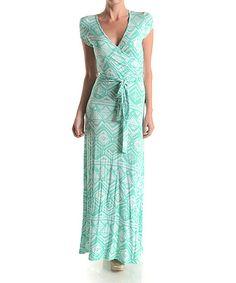 Mint Tribal Surplice Maxi Dress