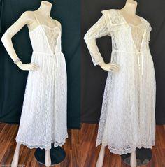 Vintage 70s GUNNE SAX Peignoir / Robe and Gown Set with Victorian Lace Puffy Sleeves  #VintageGunneSax #GunneSaxPeignoir #GunneSacLingerie