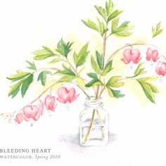 Bleeding Heart by Breezy Brookshire Bleeding Heart Tattoo, Bleeding Heart Flower, Pink Love, Pretty In Pink, Pink And Green, Art Studio At Home, Cool Art, Nice Art, Sweet Nothings