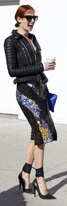 Floral Print Skirt Streetstyle