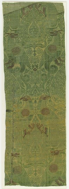 Textile with Brocade Date: 13th century Geography: Made in Sicily, Italy Culture: Spanish or Italian Medium: Silk, metal thread Accession Number: 46.156.26