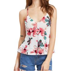 WHITELY - Casual Summer White Chiffon Sexy Camisole - V neck Sleeveless Flower Printed Tops Casual
