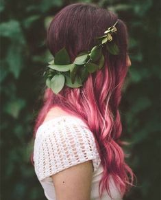 Pink ombre balayage hair style for dark hair color