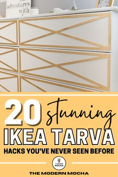Here is the perfect IKEA TARVA dresser hack for any room. This post has the best IKEA TARVA hacks, both the nightstand and dresser, for your next DIY furniture makeover project. These IKEA furniture hacks are perfect for your bedroom, living room and kitchen. Save this for the best IKEA hacks and home décor ideas! #ikeahacks #tarva #ikeatarva #ikeadresser #ikeanightstand Ikea Furniture Hacks, Ikea Hacks, Furniture Makeover, Ikea Nightstand, Ikea Tarva Dresser, Best Ikea, Décor Ideas, Living Room, Bedroom