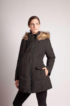 Modern Eternity Mid-thigh length Jacket with fur trim hood - Black  $125.00