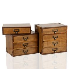 1PC Zakka Storage Cabinet Retro Wooden Storage Box Cosmetics Creative One  Two Three Four Drawer Storage
