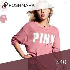PINK Boyfriend Jersey Relaxed fit Three-quarter sleeves Piecing details Curved hem Imported cotton size medium PINK Victoria's Secret Tops Tees - Long Sleeve