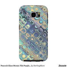 Peacock Glass Mosaic Tile Purple Blocks Lavander Samsung Galaxy S6 Cases