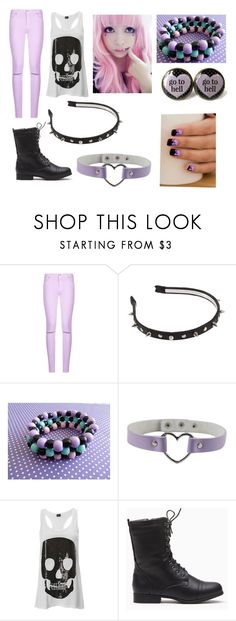 """""""pastel goth #9"""" by ironically-a-strider21 ❤ liked on Polyvore featuring 7 For All Mankind"""