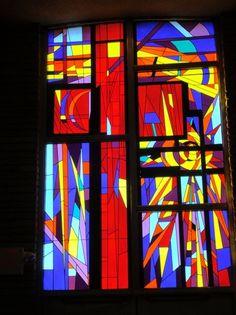 Vivid modern stained glass inside First Christian Church, OKC.