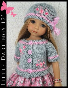 """OOAK Gray & Pink Outfit for Little Darlings Effner 13"""" Maggie & Kate Create"""