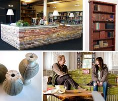Novel Ideas: Books as Furniture & Functional Décor........... the checkout desk of a library!
