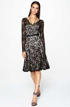 Maggy London Long Sleeve Lace Fit & Flare Dress   Nordstrom
