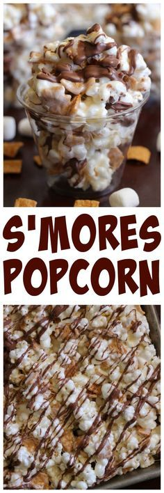 Popcorn S'mores Popcorn - the yummiest marshmallow popcorn mixed with Golden Grahams and chocolate.S'mores Popcorn - the yummiest marshmallow popcorn mixed with Golden Grahams and chocolate. Gourmet Popcorn, Popcorn Recipes, Snack Recipes, Dessert Recipes, Cooking Recipes, Flavored Popcorn, Popcorn Bar, Popcorn Favors, Popcorn Snacks
