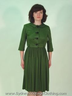 Vintage 60's Korell Green Plaid Pleated Dress w Boloreo Jacket