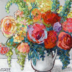 Acrylic Flower Painting 14x14 Contemporary Floral by AndeHallArt