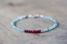 Beaded Aquamarine Bracelet with Ruby, Multi Gemstone Beaded Stacking Bracelet, Aquamarine Jewelry, Ruby Jewelry, Sterling Silver Gold Filled by MoonLabJewelry on Etsy https://www.etsy.com/listing/250480709/beaded-aquamarine-bracelet-with-ruby