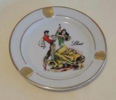 Vintage LLoret Spanish dancer glass ashtray 4 3/4 inches  Free Shipping