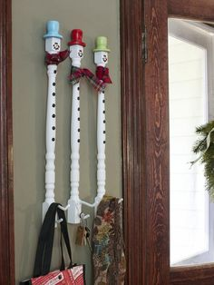 HGTV- Spindle Snowman Hooks  Give your everyday items holiday flair with spindle snowman wall hooks. Pick up three basic wooden spindles from the home improvement store, and spray-paint them in the color of your choice. Add accents, such as hats, buttons and facial features to create the look of a DIY snowman.