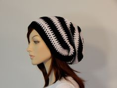 Black and White Slouch Hat, Lots of Slouch, Striped Slouch Beanie, Boho Hat, Womens Hat, Ladies Hat, Teen Slouchy Hat, Winter Hat, Boho Hat by MarlowsGiftCottage on Etsy