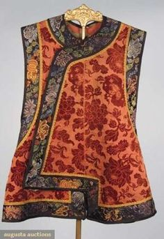 Augusta Auctions, October 2008 Vintage Clothing & Textile Auction, Lot 57: Man's Velvet Vest, China, Mid 19th C by graciela