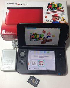 Nintendo 3DS XL Red & Black Handheld W/ Super Mario 3D Land Game + 4Gb Memory #Nintendo
