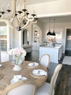 kitchen nook farmhouse round table rustic home tour Dining Room Inspiration, Home Decor Inspiration, Home Interior, Interior Design, French Country Dining Room, Home Decor Kitchen, Kitchen Nook, Dining Room Table, Sweet Home