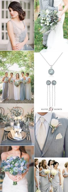 Beautiful dusty blue wedding inspiration with a touch of grey on GS Inspiration - Glitzy Secrets