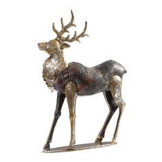 Dieses Rentier von X-MAS ist ein ganz besonderer Hingucker Ihrer Weihnachtsdeko. Das Rentier steht auf einer goldenen Platte und erreicht insgesamt eine Höhe von ca. 51 cm. Der Mix von Kunststoff- und Metall-Elementen verleiht dem Tier das besondere Aussehen, ohne zu wenig Glanz zu verstrahlen: Die goldfarbene Oberfläche zieht sich durch das ganze Produkt und sorgt für den extravaganten Look. Geben Sie diesem weihnachtlichen Gesellen ein neues Zuhause und erfreuen Sie sic
