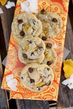 Mango and Dark Chocolate Cookies from Our Best Bites Mango Chocolate, Dark Chocolate Cookies, Chocolate Covered, Coconut Cookies, Sweets Recipes, Cookie Recipes, Desserts, Italian Almond Cookies, Cookies