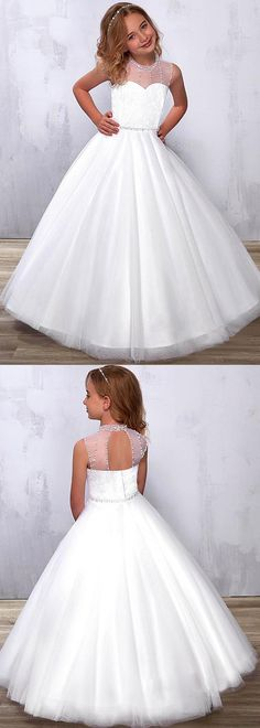 Exquisite Tulle & Lace Illusion High Collar A-line Flower Girl Dress With Beadings