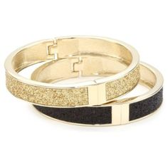 """Betsey Johnson """"Essentials"""" Gold and Black Glitter Hinged Bangle Bracelet Set - designer shoes, handbags, jewelry, watches, and fashion accessories 