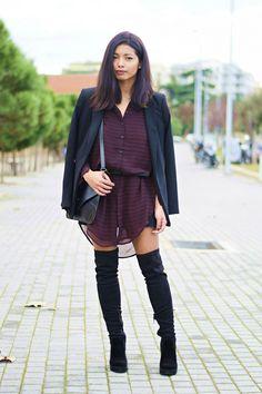 k-meets-style shirtdress , leather envelope bag and thigh boots