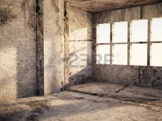 a room in grunge colors rendering Stock Photo